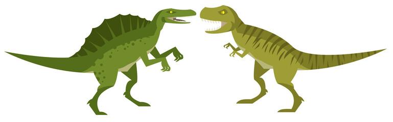 hungry tyrannosaurus rex and spinosaurus