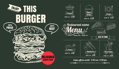 Restaurant Food Burger Menu Design with Chalkboard Background
