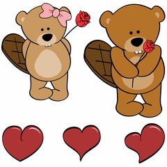 cute beaver cartoon love heart set in vector format