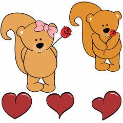 cute squirrel cartoon love heart set in vector format