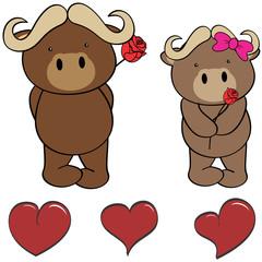 cute oxen  cartoon love heart set in vector format
