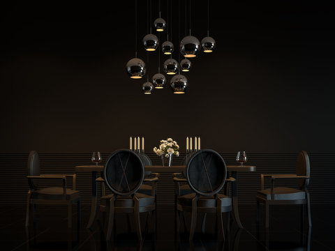 Modern luxury black dining room interior 3D rendering Image.There are  decorate room with black furniture,floor,wall