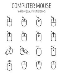 Set of computer mouse in modern thin line style.