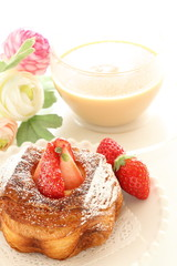 strawberry danish pastry for breakfast image