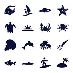 Set of 16 ocean filled icons