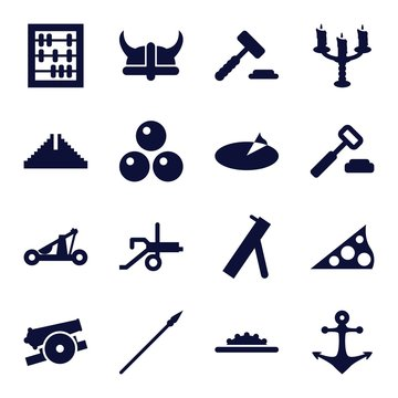 Set of 16 antique filled icons