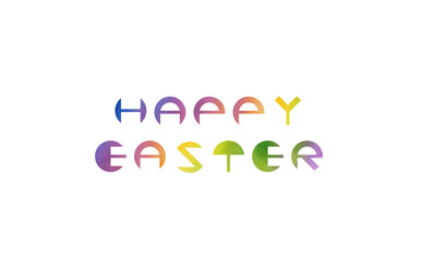 Designed round fonts saying happy easter with watercolor texture.