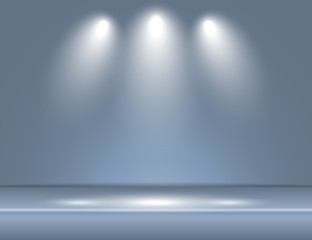 Spotlight gray blue light rays room studio background vector