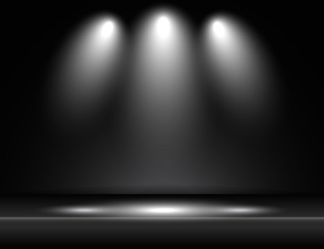 Spotlight black light rays room studio background vector