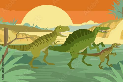 three carnivore dinosaurs in the jungle