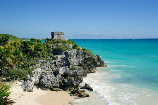 tulum ruins by the sea coast riviera maya