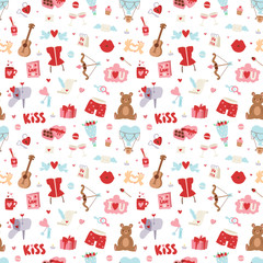 Valentine Day icons vector seamless pattern