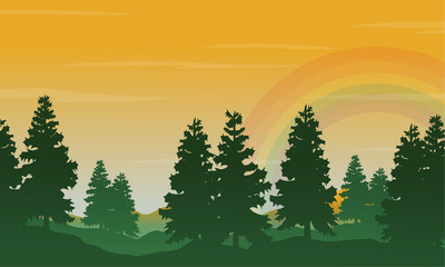 Spruce and rainbow landscape silhouettes style