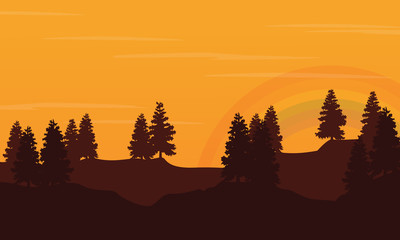 Silhouette of hill with orange sky landscape