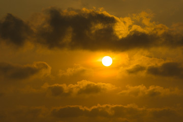 The sun with clouds in sunset.