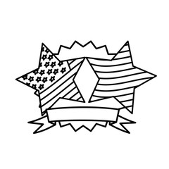 figure emblem and stars independence day icon, vector illustraction design