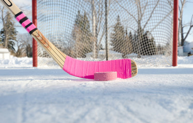 Pink hockey stick outdoor rink on a blue sky day close-up