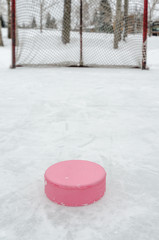 Pink hockey puck close-up with hockey net outdoor rink