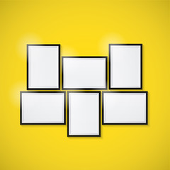 Blank picture frame template set. vector illustration.