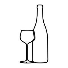 figure wine bottle with glass icon, vector illustraction design
