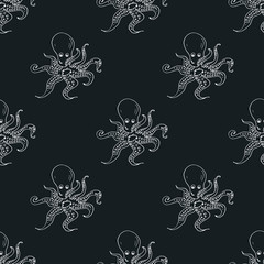 Seamless pattern with octopus on dark background