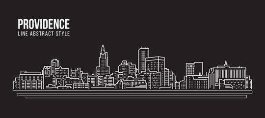 Cityscape Building Line art Vector Illustration design - Providence city