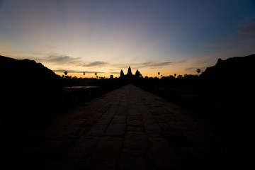 Angkor Wat Temple Silhouette Morning Sunrise Walkway in Cambodia