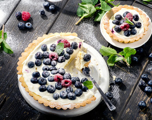 Cheese cake with berries and whipped cream.