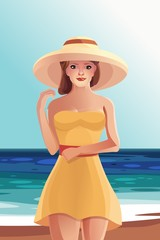Красивая девушка в платье и шляпе на пляже вектор