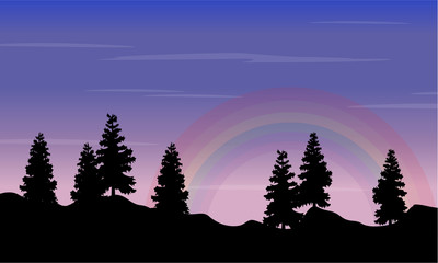 Silhouette of spruce on hill with rainbow landscape