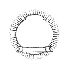 monochrome sketch of circular emblem with ribbon in the bottom side vector illustration