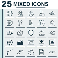 Set Of 25 Universal Editable Icons. Can Be Used For Web, Mobile And App Design. Includes Elements Such As Hot Drink, Eating House, Metro And More.