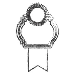 monochrome sketch of heraldic frame with ribbon and circular emblem top side vector illustration