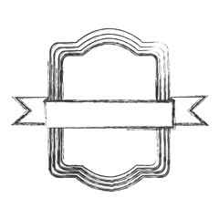 monochrome sketch of rectangular frame with ribbon in the center vector illustration