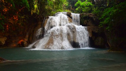 Wall Mural - Huay Mae Kamin waterfall in the forest, Kanchanaburi, Thailand