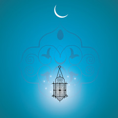 Ramadan holiday. Moon with stars.