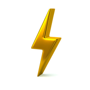 Golden thunderbolt icon 3d illustration