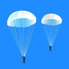 парашютисты на фоне неба, векторная иллюстрация