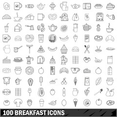 100 breakfast icons set, outline style