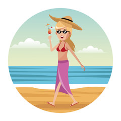 woman tourist swimsuit and hat vector illustration eps 10