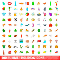 100 summer holidays icons set, cartoon style