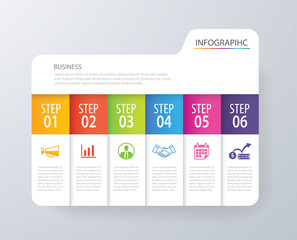Infographic tab index design vector and marketing template business. Can be used for workflow layout, diagram, annual report, web design. Business concept with 6 options, steps or processes.