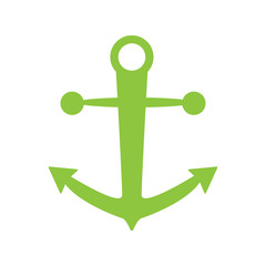 anchor icon green color isolated vector