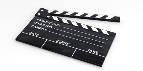 Movie clapper on white background. 3d illustration