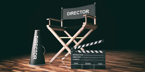 Movie director chair and clapper on wooden background. 3d illustration