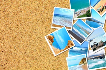 Heap of holidays pictures with beach and sea on sandy beach background.