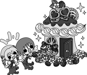 Cute illustration of Hansel and Gretel