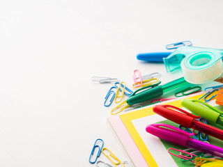Stationery colorful writing tools accessories pens pencils, color paper. Back to school. Office supplies products