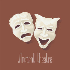 Theater masks for ancient theater vector illustration