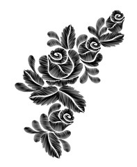Black roses embroidery on white background. ethnic flowers neck line flower design graphics fashion wearing